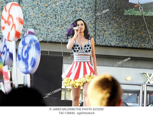 Katy Perry performs live on Hollywood Blvd before the premiere of her film 'Katy Perry: Part Of Me' at Grauman's Chinese Theatre in Hollywood
