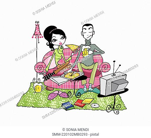 Couple on couch with beer, pizza, and TV