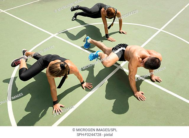 Plank obliques exercise, fitness team promoting insanity workout