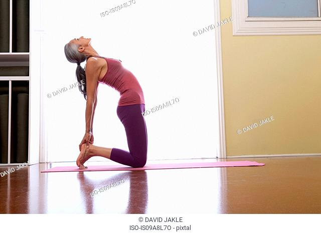 Woman stretching backwards