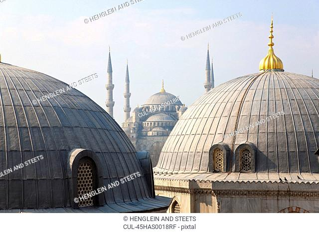 Blue Mosque seen from Aya Sofya, Istanbul, Turkey