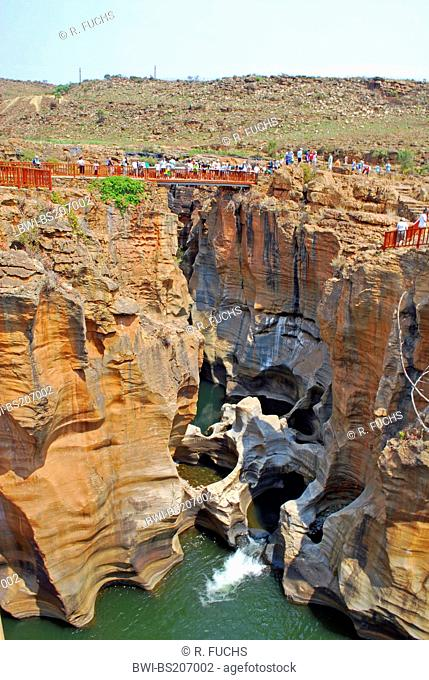 tourists on a bridge at BourkeÆs Luck Potholes in Blyde River Canyon Nature Reserve, South Africa, Blyde River Canyon Nature Reserve