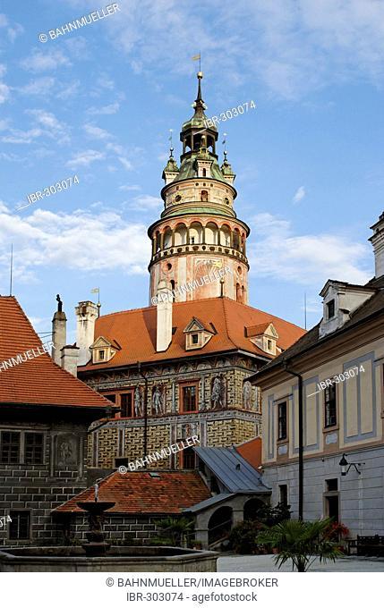 Cesky Krumlov Krumau at the Moldau Vltava Bohemian Forest Sumava Czech Republik castle Schwarzenberg with tower
