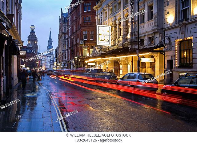 London, England, St. Martin's Lane at dusk, Noel Coward Theatre, Duke of York Theatre, Coliseum, Church of St. Martin-in-the-Fields, pubs and restaurants