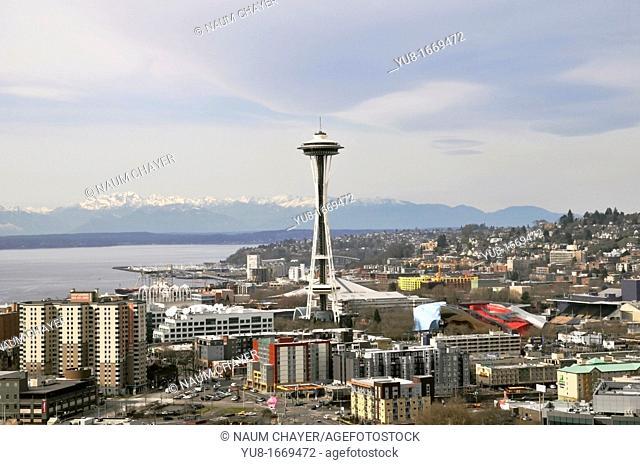 Panorama of Seattle with Space Needle and cloudy sky, Washington, WA, USA