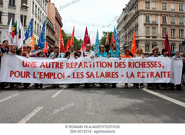 Demonstration of trade unions in favor of a a different distribution of wealth, employment, wages and pensions, 27 may 2010, Lyon, Rhône, Rhône-Alpes, France