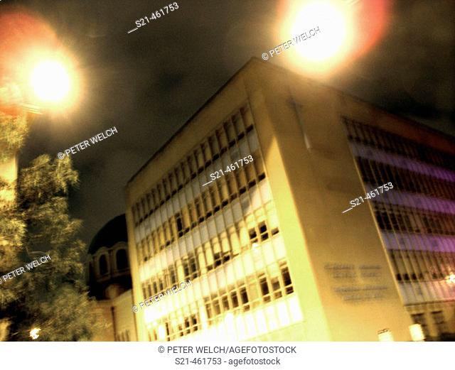 A New York City Catholic School is captured at night in a long time exposure.  The slightblur gives the school an otherowrdly feeling that the devout might even...
