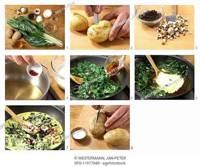 Baked potatoes with chard in saffron sauce being made
