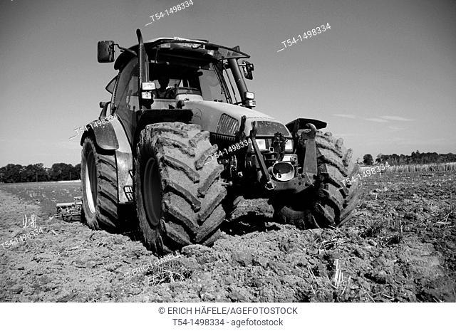 Farmer in Bavaria harrowed his land with a Deutz tractor