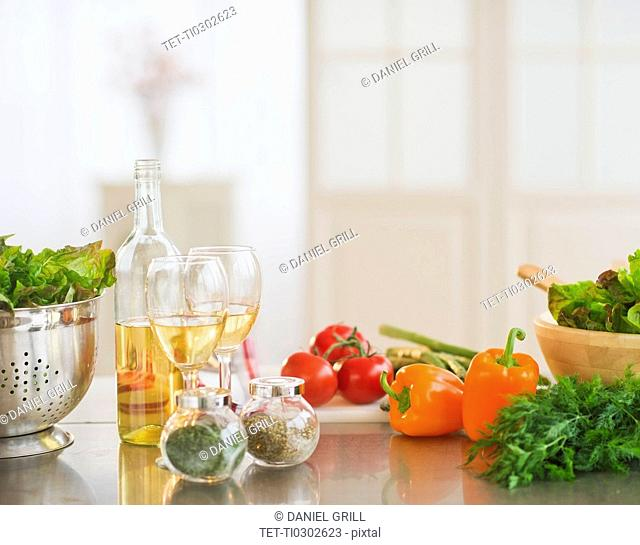 Close up of food preparation in kitchen
