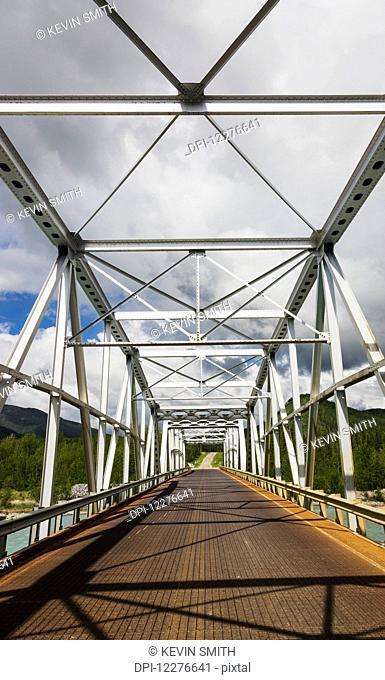 Metal Bridge over the Racing River, Alaska Highway, West of Fort Nelson, British Columbia, Canada, Summer