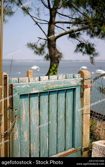 Wooden gate closed