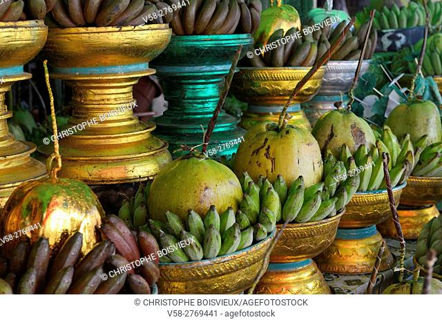 Myanmar, Yangon (Rangoon), Botataung pagoda surroundings, Banana and coconut offerings for sale