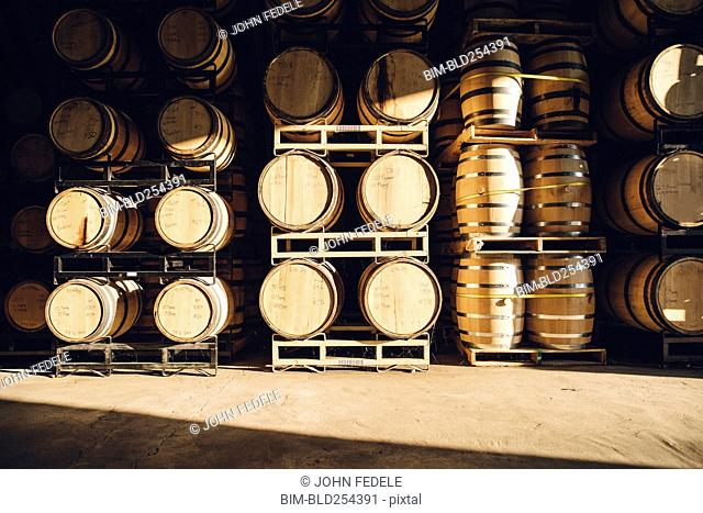 Barrels in distillery