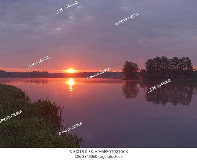 Sunrise on river Bug near Wajkow. Podlasie region, Poland