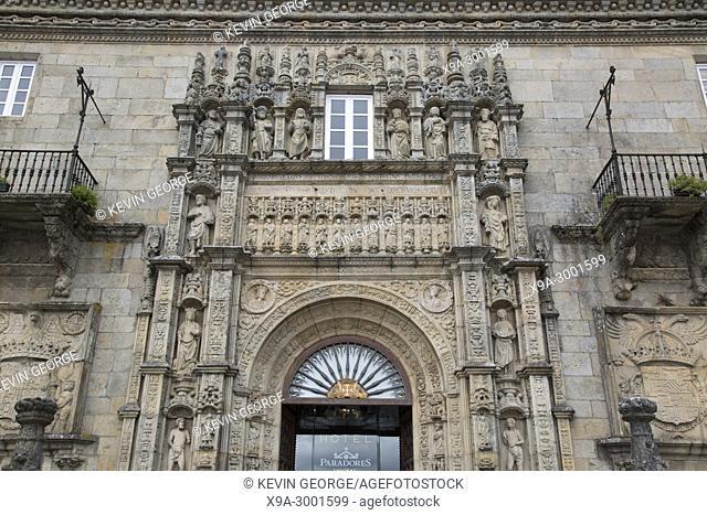 Entrance of Parador Hotel, Santiago de Compostela, Galicia, Spain