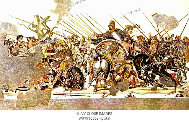 Alexander (at far left) is depicted riding his horse Bucephalus as he battles the Persians, headed by King Darius III (the dominant figure at right)