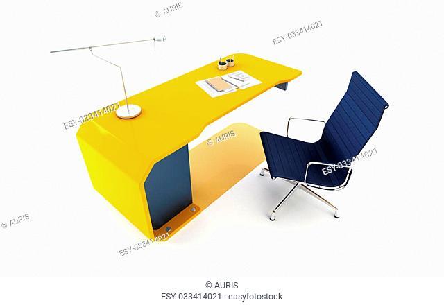 modern table 3d render, isolated ot white