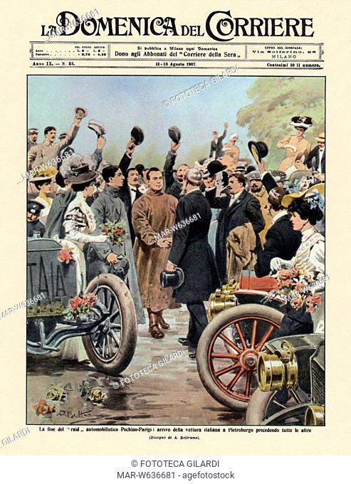 AUTOMOBILISMO Copertina de 'La Domenica del Corriere' 11/18 agosto 1907 con la notizia del raid automobilistico Pechino-Parigi: vittoria della vettura italiana...