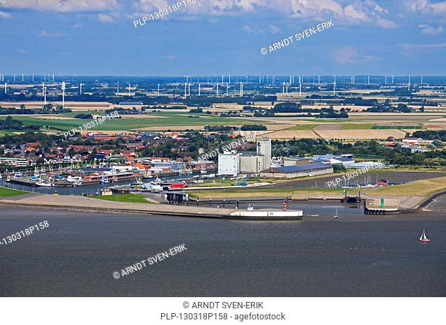 Aerial view over the harbour of Büsum along the North Sea, Dithmarschen, Schleswig-Holstein, Germany