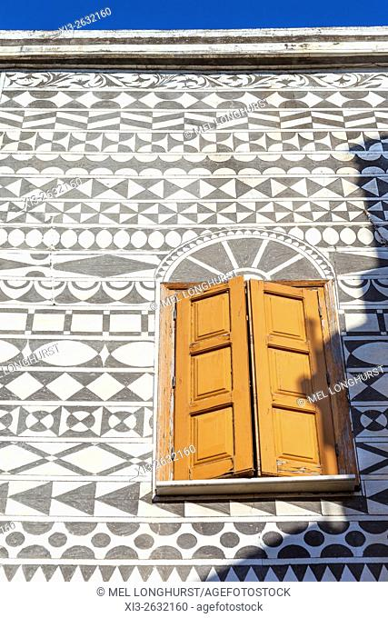 Decorative wall of a house in the village of Pyrgi, Chios, Greece