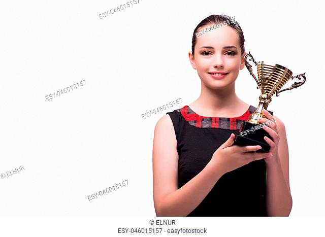 Woman with cup award isolated on white