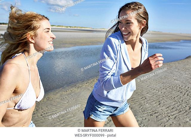 Two happy female friends walking on the beach