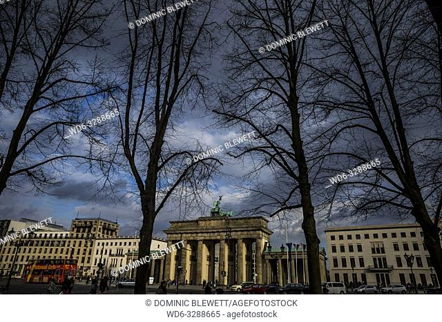 Brandenburg Gate seen in springimte in Berlin, Germany