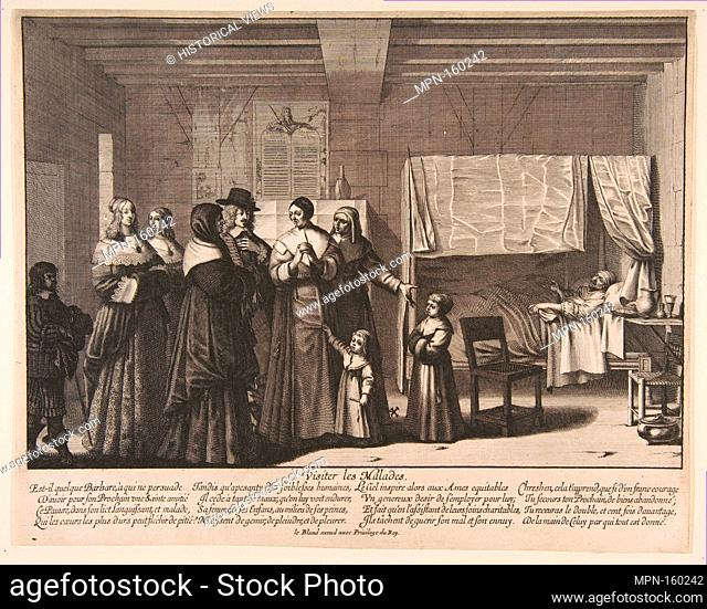 Visiting the Sick. Series/Portfolio: Acts of Mercy; Artist: Abraham Bosse (French, Tours 1602/1604-1676 Paris); Publisher: Jean I Leblond (French, ca