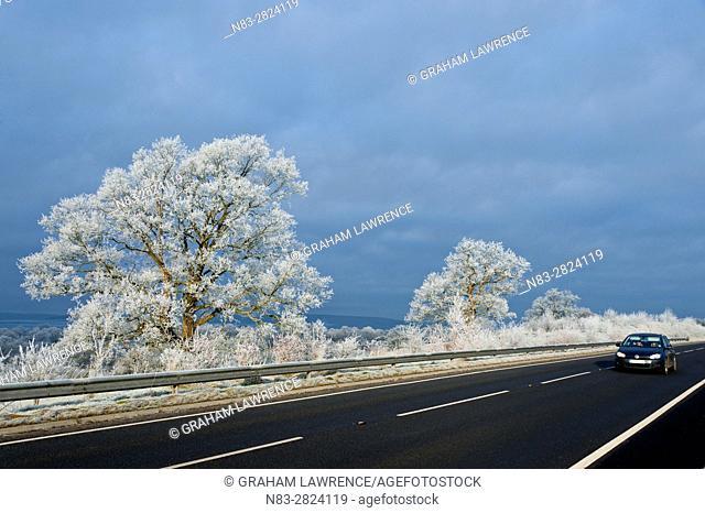 Frosty landscape, Powys, Wales, UK