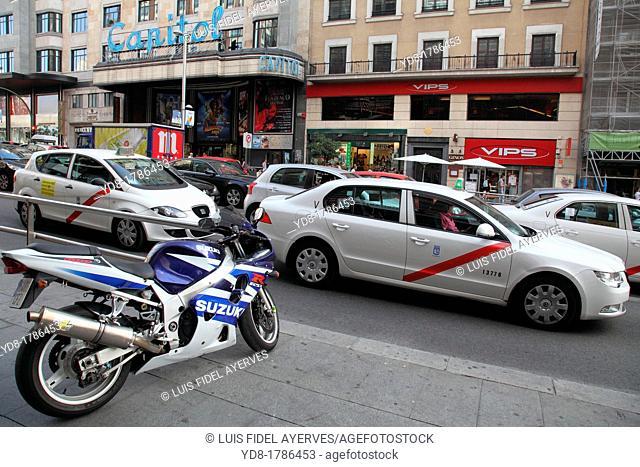 Traffic on the street Gran Via, Madrid, Spain, Europe