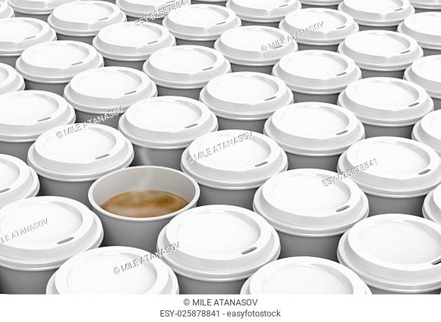 One opened coffee cup in multiple rows of plastic coffee cups