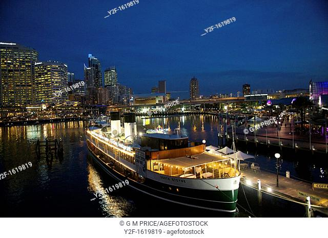 restaurant ship and city lights at Darling Harbour