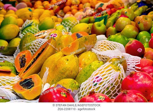 Sale of Fruits on the Mercat de Sant Josep de la Boquería in Barcelona, Spain