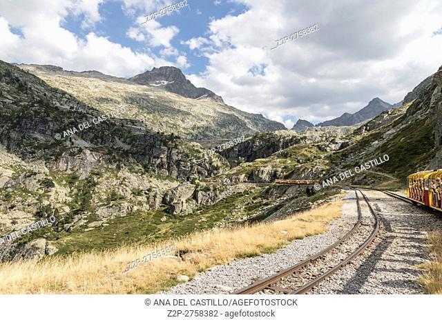 Mountain panorama from the little train of Artouste is the highest passenger train of Europe and run from Artouste town to alpine lake of Artouste on August 14