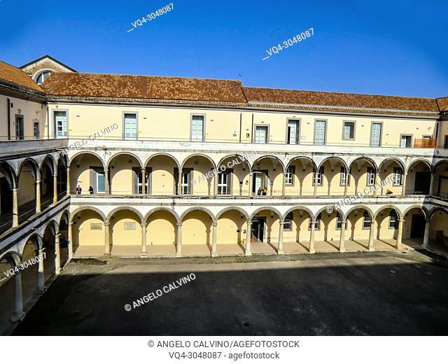 The courtyard of the Conservatorio di Sant'Anna, Abbey of S. Lorenzo now Universita degli Studi della Campania ''Luigi Vanvitelli'', Aversa, Campania, Italy