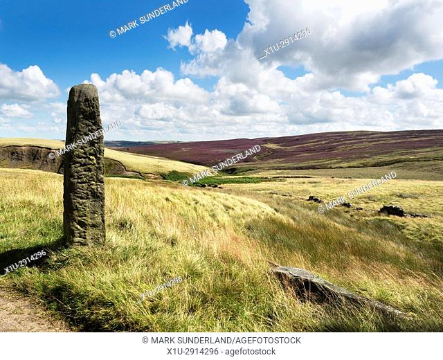 Old Gatepost on the Pennine Way near Haworth West Yorkshire England