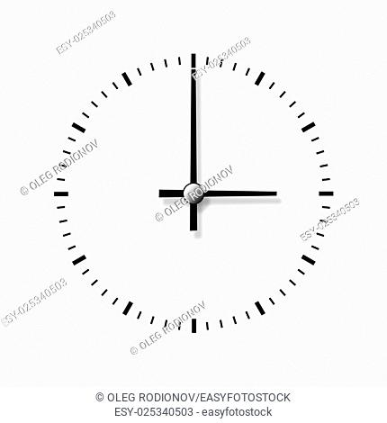 Clock without numbers isolated on white background. Closeup