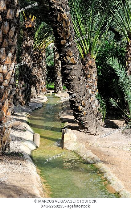 Irrigation canal. Elche, Alicante, Spain