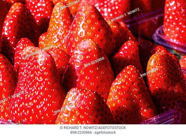 Fresh red strawberries for sale in Tel Aviv's Carmel Market