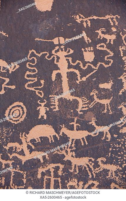 Newspaper Rock Petroglyph, Etched in the rock from approximate 700 BC thru 1300 AD, South of Moab, Utah, USA
