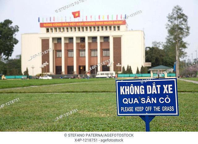 Please keep off the grass. Ba Dinh Square, Hanoi. Opposite Ho Chi Minh-Mausoleum, Hanoi, Vietnam