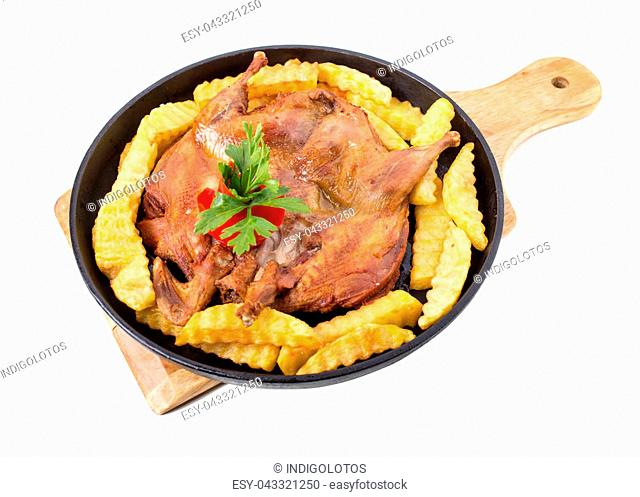 Fried chicken tabaka with french fries. Isolated on a white background
