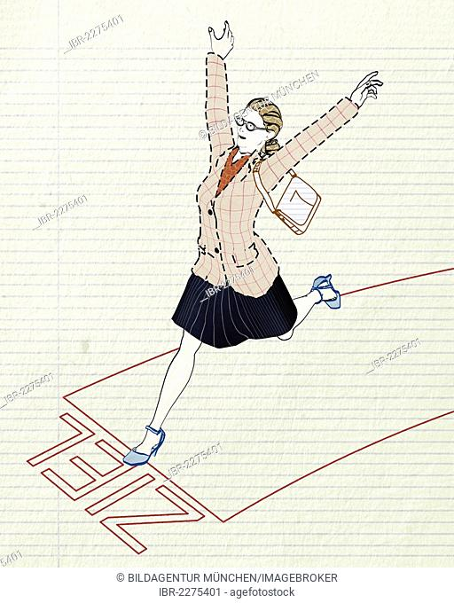 Woman jubilantly crossing the finish line, symbolic image for career, competition, victory, illustration