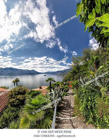 Ascona with Lago Maggiore lake in the Ticino