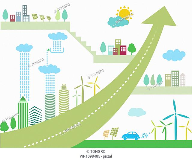 illustration of a town with renewable energy