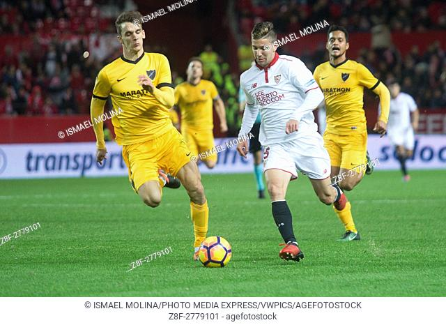 Viett of Sevilla FC in action during the match between Sevilla FC vs Malaga as part of La Liga at Estadio Ramon Sanchez-Pizjuan on December 17