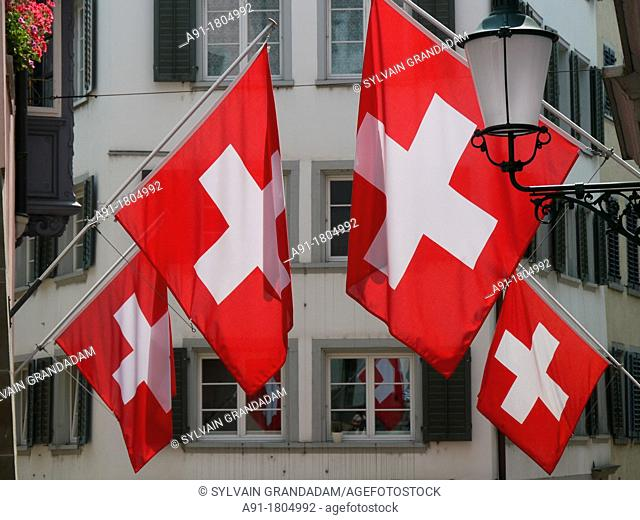 Switzerland, city of Zurich, 1st of august, national day in the old town, flags exhibition