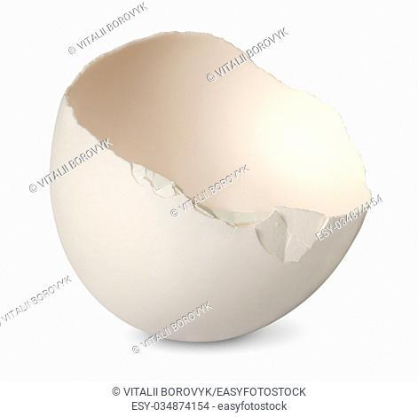 Single half from crashed egg isolated on white background