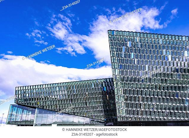 Exterior of the Harpa Concert Hall and Conference Centre in Reykjavic, Iceland. Designed by the Danish firm Henning Larsen Architects in collaboration with...